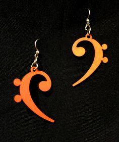 orange stained wooden bass clef earrings by Greentree. Amazingly, Adorable!