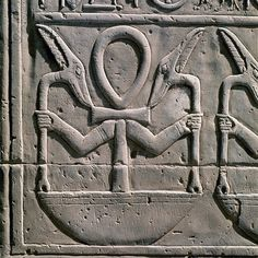 Symbolic frieze with ankh (cross with a handle) and was sceptres, Temple of Sobek and Haroeris, Kom-Ombo. Egyptian Civilisation, Ptolemaic Period.