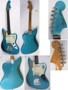 1962 Fender Jaguar, lake placid blue. Now this is a little bit of nice. All it needs is a Whizzo Buzz Stop...