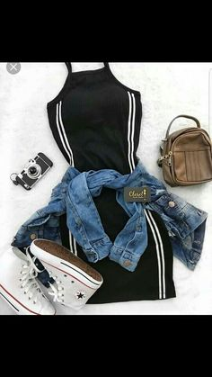 Converse Outfits, Jeans E Converse, Converse Mode, Swag Outfits, Stylish Outfits, Converse Jacket, Casual Dress Outfits, Stylish Clothes, Cute Summer Outfits