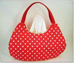 Bezug in Handtaschenform  Rot mit weißen Punkten
