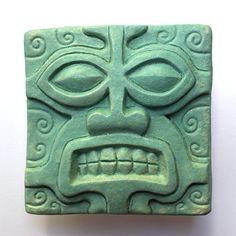 Stone Guardian turquoise hand pressed ceramic tile door VanTiki