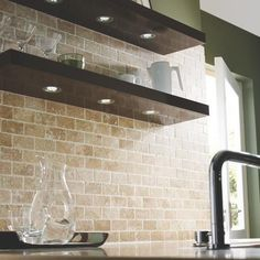 Recessed Shelf Lighting Stone Backsplash Kitchen Ideas Brick Tiles