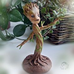 Baby Groot - Handmade figurine made of polymer clay baby Groot fantasy guardians galaxy little Groot polymer clay floral décor gift souvenir rusteam dancing Groot marvel fun ShamelessAdvTeam 75.00 USD #goriani