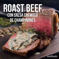 Roast Beef Video with Creamy Mushroom Sauce - You will love this delicious way of cooking the Roast Beef. Since the meat will be juicy and when a - Roast Beef Recipes, Meat Recipes, Mexican Food Recipes, Cooking Recipes, Cooking Ware, Cooking Eggs, Baby Cooking, Cooking Fish, Cooking Steak