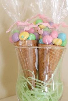 Easter Candy Cones - Fill sugar cones with candy. Wrap in cellophane & tie with ribbon