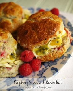 These raspberry scones with passion fruit and clotted cream sound amazing :)