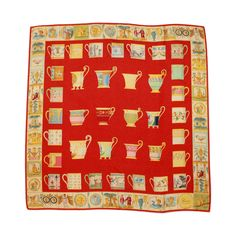 Gucci Red Tea Cup Printed Silk Scarf   From a collection of rare vintage scarves at https://www.1stdibs.com/fashion/accessories/scarves/