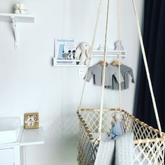 Neutral babyroom with bohemian hanging cradle. Hanging Cradle, Hanging Crib, Baby Room, Cribs, Neutral, Bohemian, Chair, Furniture, Home Decor