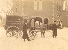 Horse-drawn ambulance with attendants - Winter, 1898