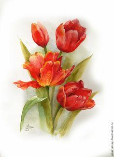Картины цветов ручной работы. Ярмарка Мастеров - ручная работа Тюльпаны. Handmade.