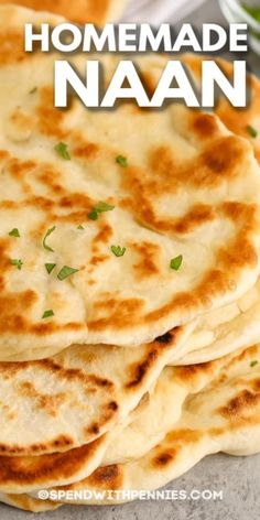 Homemade Naan Bread is a delicious, fresh bread made completely from scratch. Serve with butter chicken and use to soak up all that sauce! #spendwithpennies #naanbread #recipe #sidedish #homemade #indian Homemade Naan Bread, Yeast Bread Recipes, Flatbread Recipes, Bread Machine Recipes, Savoury Recipes, Indian Food Recipes, Asian Recipes, Ethnic Recipes, Asian Foods