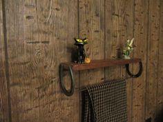 Horseshoe shelf horseshoe towel holder by UniqueBlacksmithing