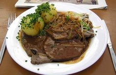 """It's that time of the year when people around the world go to German beer halls and German restaurants to celebrate Oktoberfest.  Are you in the mood to try some homemade German cuisine this weekend?  Try sauerbraten!  The word means """"sour roast,"""" and the dish is a roast beef that is marinated in vinegar and then braised."""