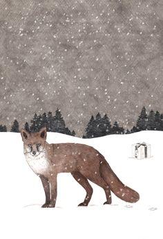 Fox in winter landscape Christmas Card for Tzou Lubroth Architekten by Maria Prieto Barea