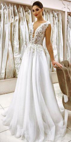 a line lace floral embellishments bodice deep v neck wedding dresses