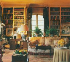 The drawing room at the Dower House, Badminton. Chintz slipcovered sofa!!