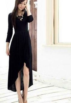 Asymmetrical Hem Black Maxi Dress  one could really go crazy with the  jewelry for this 80463d6f2b4f