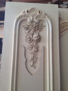 Hand carved wood panels & pilasters for hand glazed off white living room...  www.Auffrance.com