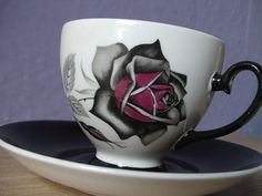 vintage gothic rose tea cup and saucer set Royal by ShoponSherman, $49.00