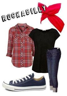 I love this whole outfit! It would be cute to wear to work. Instead of a plain black tee the my belly rocks tank under the plaid shirt! Perfect outfit if we decide to dress rockabilly for the baby shower! 50s Outfits, Rockabilly Outfits, Outfits Casual, Dress Up Outfits, Mode Outfits, Rockabilly Clothing, Casual Rockabilly Fashion, Converse Outfits, Casual Shoes