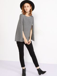#AdoreWe #FashionMia Cape - FashionMia Crew Neck Zips Plain Cape Sleeve Cape - AdoreWe.com