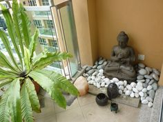 My little Buddha garden on the balcony of my apartment. My little Buddha garden on th Meditation Corner, Meditation Garden, Meditation Rooms, Little Buddha, Balcony Furniture, Furniture Ideas, Outdoor Furniture, Zen Room, Pooja Rooms
