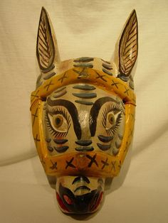 Mexican Donkey Mask Wood | eBay - in the USA it is hard to imagine the current use of these dance masks but the dances are real & meaningful - for more on Mexico visit www.mainlymexican.com #Mexico #Mexican #mask