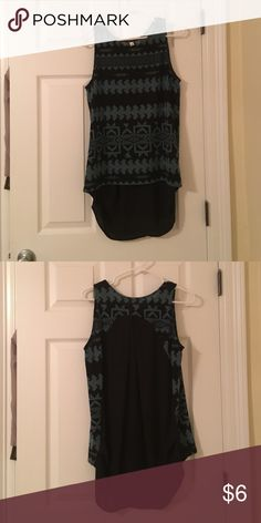 Tribal tank top Sweater feel in the front and sheer black material in the back. Perfect transitional fall top tyche Tops Tank Tops