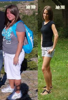 This is great.  Hard work paid off for this girl! Before and after weight loss shots are so inspiring.