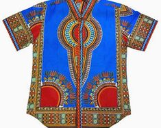 Men's Dashiki, African Print shirt with buttons, BLUE size XL