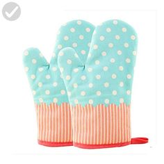 KinChi Glove Microwave BBQ Oven Cotton Baking Pot Mitts Cooking Heat Resistant Kitchen,100% Quilted Cotton with Thick Terry Cloth Lining, Set of 2 Mittens (Blue) - Kitchen gadgets (*Amazon Partner-Link)