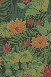 Add colour and pattern to your home with this eye-catching jungle inspired wallpaper from Little Greene. Available from Go Wallpaper UK. Green Wallpaper, Retro Wallpaper, Print Wallpaper, Pattern Wallpaper, Hall Wallpaper, Wallpaper Designs, Bathroom Wallpaper, Henri Rousseau, Little Greene Paint Company