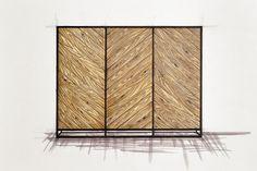 Handcrafted bespoke wooden wardrobe with metal legs. Old wood. Modern, rustic, industrial furnitures.