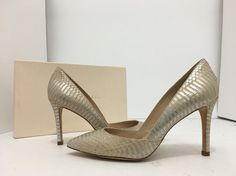 Loeffler Randall Pari Nude Silver Snake Print Leather Women's High Heels Pumps 7…