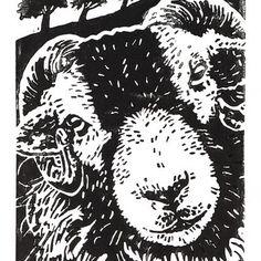 Swaledale Sheep - Original Hand Pulled Linocut Print £38.00 #folksyfriday
