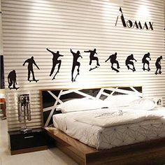 $9.78  - Wallpark Fashion Modern Skateboard Boys Silhouette Removable Wall Sticker Decal Living Room Bedroom Home Decoration Adhesive DIY Art Wall Mural -- Read more reviews of the product by visiting the link on the image. (This is an affiliate link) #WallStickersMurals