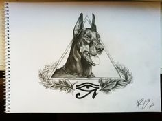 Exceptional drawing of a beautiful Doberman