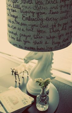 Writing a love letter on a lamp shade. Brilliant!