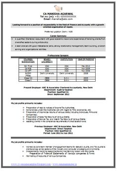 Sample Template Of An Excellent Experienced Chartered Accountant Resume  Sample With Great Career Objectiveu2026