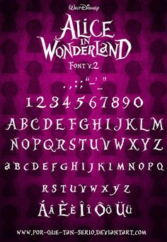 """""""Alice in Wonderland"""" font. Get Mad Tea Party scrapbook ideas at mousescrappers. Alice In Wonderland Font, Alice In Wonderland Tattoo Sleeve, Alice Tea Party, Mad Hatter Tea, Mad Hatters, Foto Art, Letters, Words, Sleeve Tattoos"""