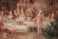 Juan Pablo Salinas (Spanish, 1871-1946) Oil On Board, Wedding Toast