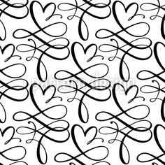 Heart Swirls Seamless Pattern by Galyna Tymonko at patterndesigns.com Calligraphy Heart, Flourish Calligraphy, Vector Pattern, Pattern Design, Monochrome Pattern, Swirls, Your Design, Black And White, Patterns