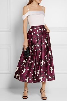 Oscar de la Renta | Floral-print pleated silk-satin skirt | NET-A-PORTER.COM