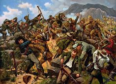 Bloody melee combat at the Battle of Spion Kop, Boer War Military Art, Military History, Military Uniforms, Colonial, Film Inspiration, World War One, Modern Warfare, Historical Pictures, British Army