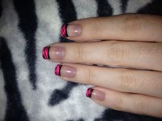 Pink french tip nails with zebra print :)