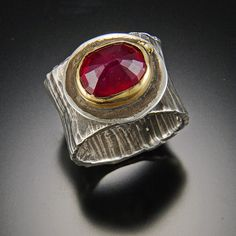 Ruby ring, Sterling silver and 22kt gold