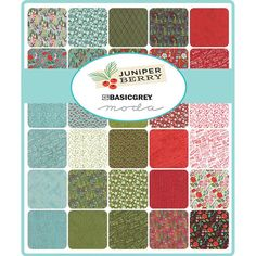 Moda Juniper Berry Mini 2.5 Charm Pack by Basic Grey for Moda Fabrics Manufacturer: Moda Fabric line/collection: Juniper Berry Designer: Basic Grey SKU: 30430MC Product type: Mini Charm Pack Size of fabric squares: 2.5 x 2.5 Total number of fabric squares: 42 There may be duplicates of some of the fabric squares. 100% cotton, quilt shop quality fabrics The first photo is the mini charm pack. The second photo shows swatches of some of the fabrics in this collection.
