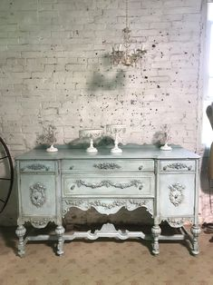 Painted Cottage Prairie Chic One of a Kind Vintage Buffet / Sideboards Painted Cottage, Shabby Cottage, Cottage Homes, Cottage Chic, Shed Decor, Home Decor, Shed Interior, Vintage Buffet, Farmhouse Kitchen Tables