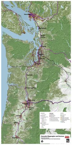 """This map was developed for America 2050's high-speed rail planning charrette, """"Connecting Cascadia: A High-Speed Rail Vision for the Pacific Northwest."""" The map synthesizes current land use patterns, transportation networks, and regional plans along the Cascadia Corridor from Eugene, OR to Vancouver, BC."""